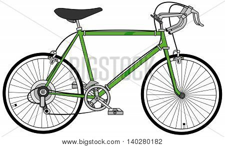 Illustration of a green 10 speed bicycle.