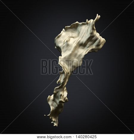 Isolated splash of gold on a black rendering background.3D