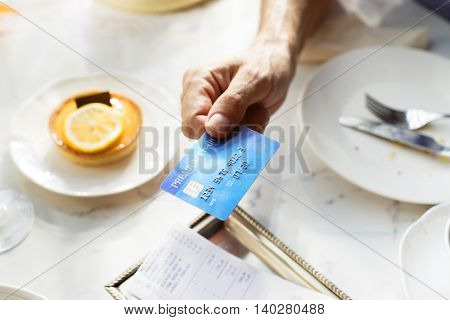 Credit Card Payment Dinner Restaurant Concept