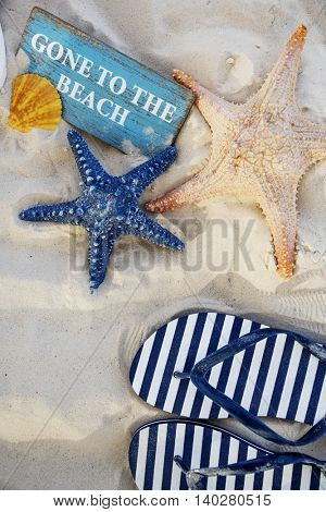 Starfish Sandals Sand Sign Concept