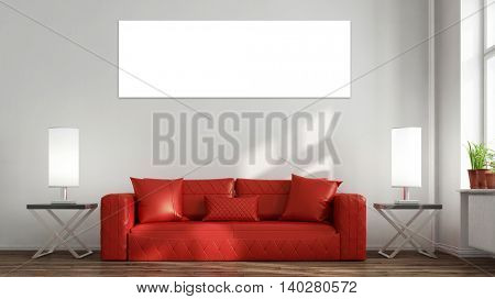 Empty white panorama canvas on wall over sofa in living room (3D Rendering)