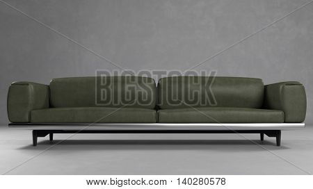 Green leather sofa in front of a concrete wall (3D Rendering)