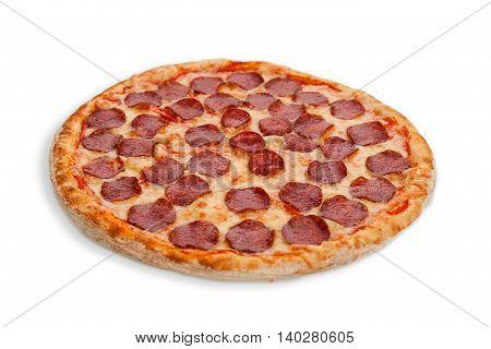 Italian salami pizza white whole backed meal