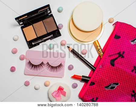 Set Of Cosmetic Isolated On A White Background.