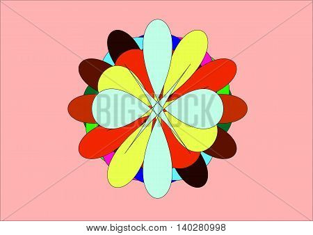 illustration which depicts numerous colored petals gathered together