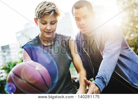 Playing Basketball Boy Defense Concept