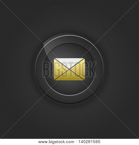 Black button envelope email. Vector illustration with shading.