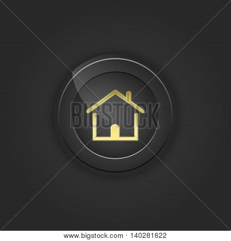 Black button house. Vector illustration with shading.