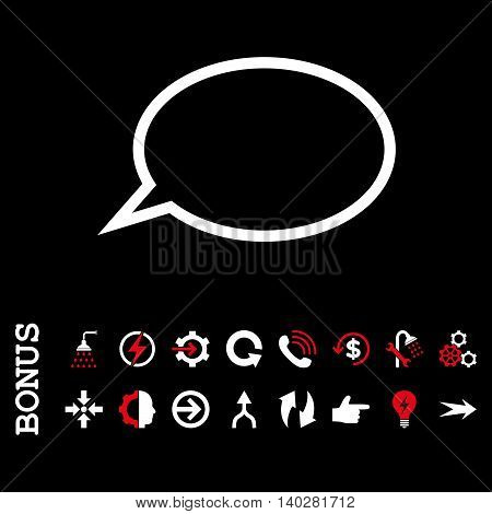 Hint Cloud glyph bicolor icon. Image style is a flat iconic symbol, red and white colors, black background.