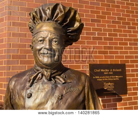 Milton PA - July 26 2016: A close up of the Chef Boyardee statue at the ConAgra Foods factory. Italian immigrant Ettore