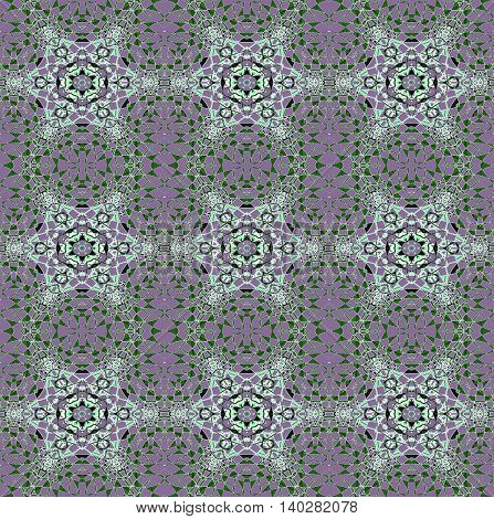 Abstract geometric seamless background. Delicate regular stars pattern mint green and black with dark green elements on purple.