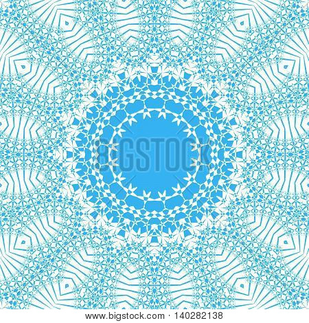 Abstract geometric seamless vintage background. Ornate circle ornament, laces pattern, white and light blue, delicate and dreamy.