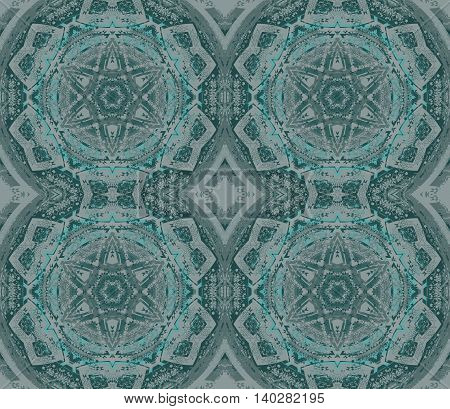 Abstract geometric seamless background. Regular stars, circles and diamond pattern in gray shades with aquamarine elements.
