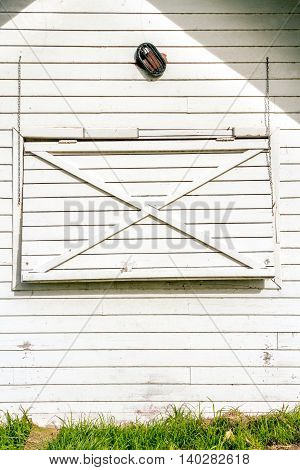 White Rustic Wood Wall Texture Background With Closed Window