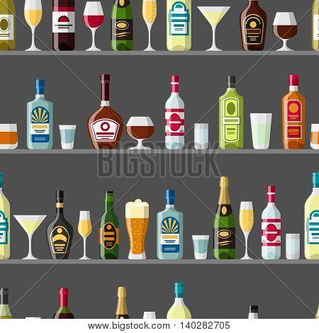 Alcohol drinks seamless pattern. Bottles, glasses for restaurants and bars.