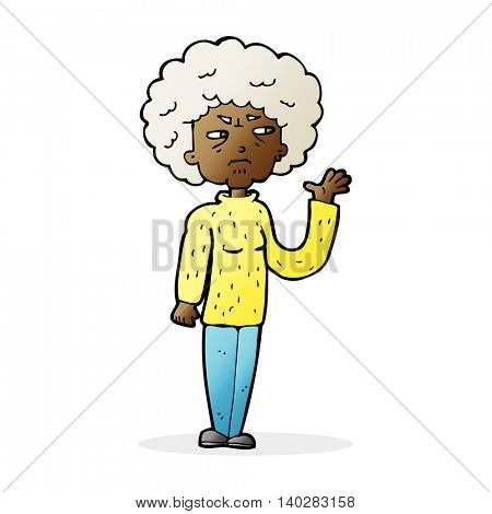 cartoon annoyed old woman waving