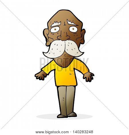cartoon sad old man