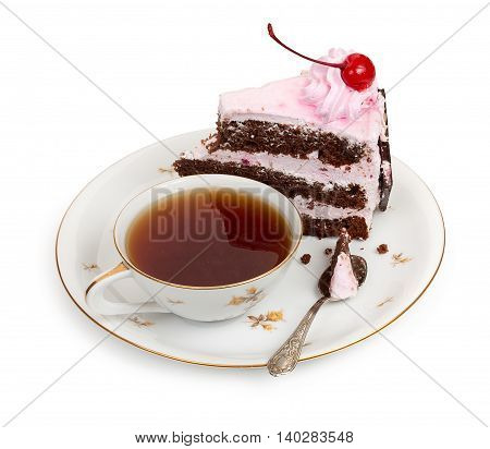 A Piece Of Chocolate Cake With Cherry Cream And Canned Cherries With A Cup Of Tea And A Teaspoon, Cl