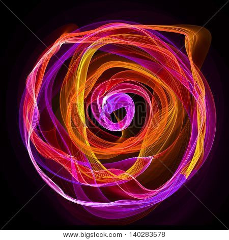 The magical form of purple smoke abstract dark background