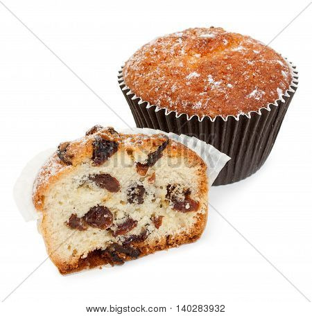 Half Of Homemade Muffin With Raisins, And The Whole Muffin Close-up. Isolated On White Background.
