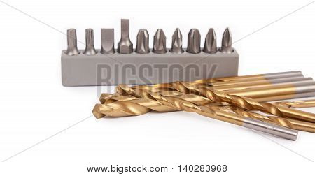 Drill bits and attachments for drilling, close-up.