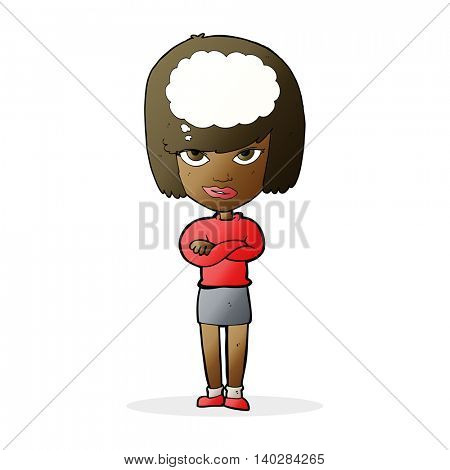 cartoon woman with folded arms imagining