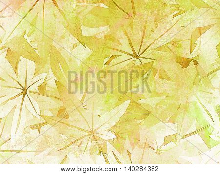 Leaves background green in painting watercolor style - soft vintage nature pattern