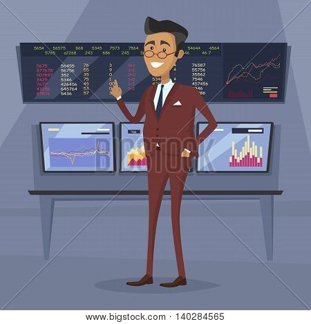 Male character in business suit vector. Flat style design. Team leader, boss, expert, successful businessman illustration. Giving good advice concept. Brokerage trading on the stock exchange.