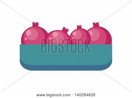 Pomegranates in tray vector in flat style design. Grocery store assortment, foods for diet, fresh fruits concept. Illustration for icons, signboards, ad, infographics design. Isolated on white.