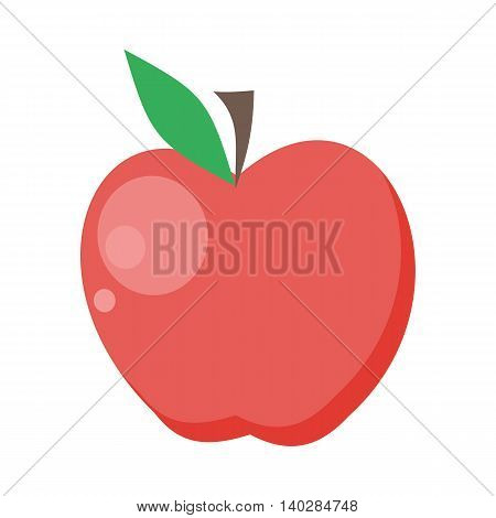 Apple vector in flat style design. Fruit illustration for conceptual banners, icons, mobile app pictogram, infographic, and logotype element. Isolated on white background.