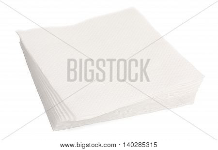 Heap Of White Paper Napkins Isolated On White Background, Close-up. Top View .