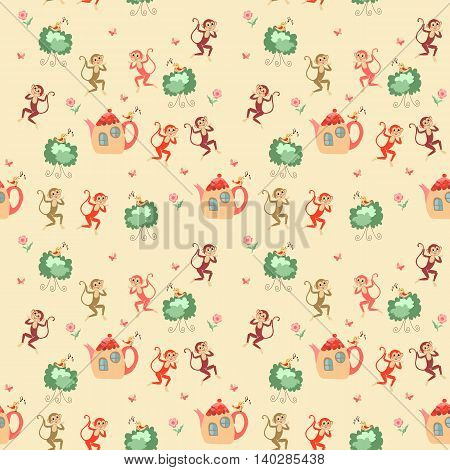 Beautiful childish seamless pattern with monkeys, teapots, shrubs, birds, flowers and butterflies. Cute vector illustration.