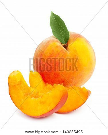 Fresh Ripe Juicy Red Peach With Green Leaf And Two Slices Isolated On A White Background.