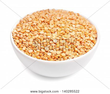 White Ceramic Bowl With Dried Peas Isolated On White Background