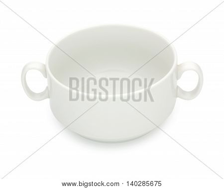 Porcelain Soup Bowl, Tureen Isolated On A White Background