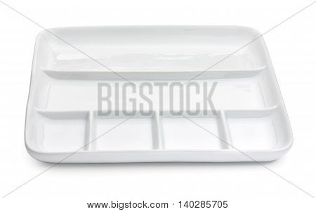 Empty Porcelain Square Compartment Dish Isolated On A White Background