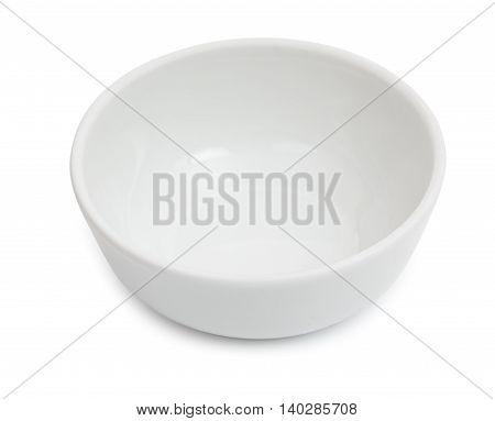 Little White Ceramic Bowl For Salt, Castor Isolated On White Background