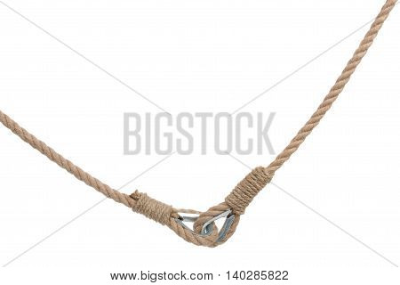 Pair Of Ropes With Metal Fasteners Isolated On White Background.