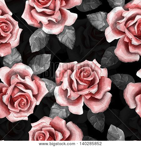 Beautiful buds. Watercolor roses pattern 9. Seamless pattern on black background