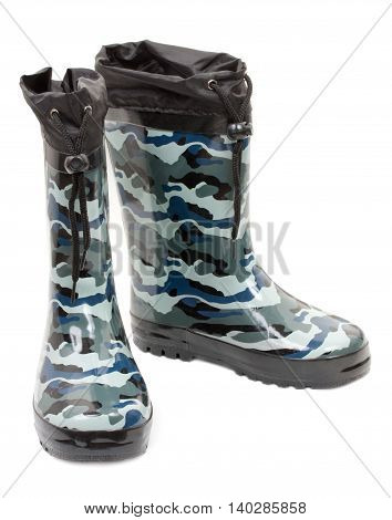 Kids rubber boots military coloration khaki color isolated white background.