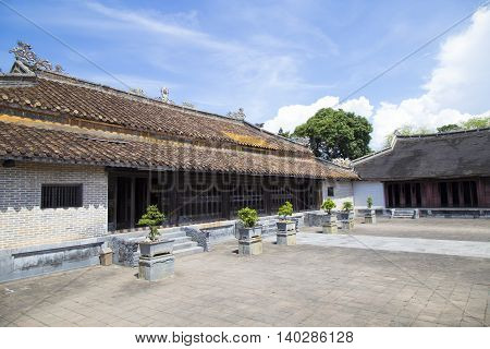 Architecture of Tu Duc king tomb in Hue ancient capital, Vietnam.