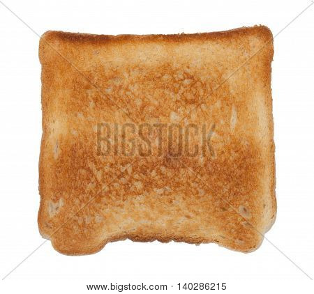 Strong Roasted Slice Of Toast Bread Isolated On White Top View