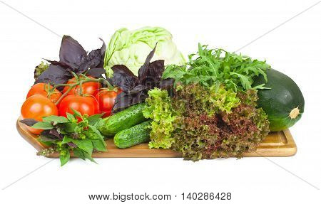 Fresh Organic Vegetables For Cooking Food On Wooden Cutting Board. Fresh Tomatoes, Cucumbers, Cabbag