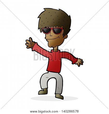cartoon waving cool guy