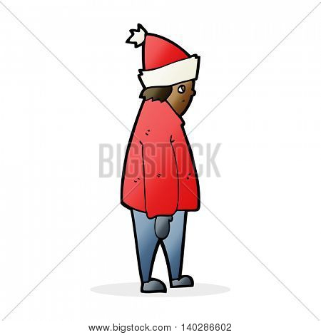 cartoon person in winter clothes