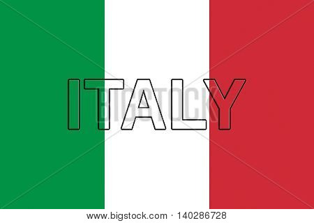 Illustration of the national flag of Italy with the word Italy on the flag