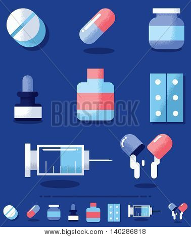 Flat design illustration of medical drugs in 2 color versions.
