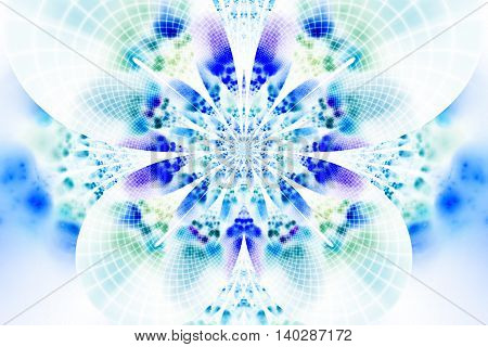Abstract glowing flower on white background. Symmetrical pattern in blue purple and light green colors. Fantasy fractal design for posters wallpapers or t-shirts. Digital art. 3D rendering.