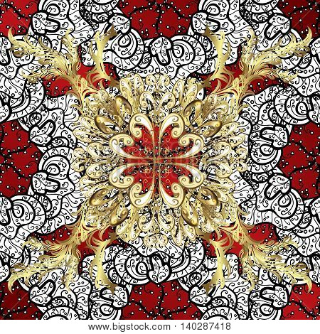 Lace pattern with flowers and golden doodles on red background. Vector illustration.