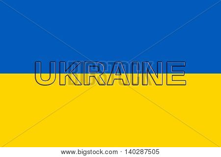 Illustration of the national flag of Ukraine with the word Ukraine on the flag